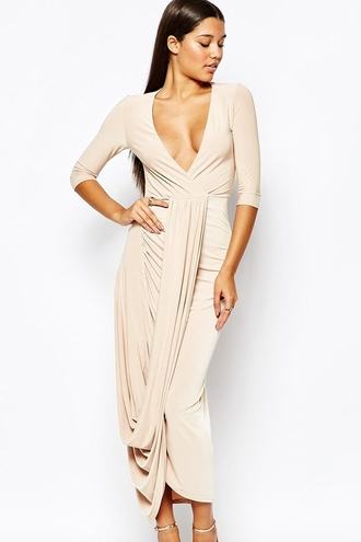 dress wots-hot-right-now wrap dress curved hem plunge v neck party dress sexy dress 3/4 sleeves chic casual dress evening dress cocktail dress date dress