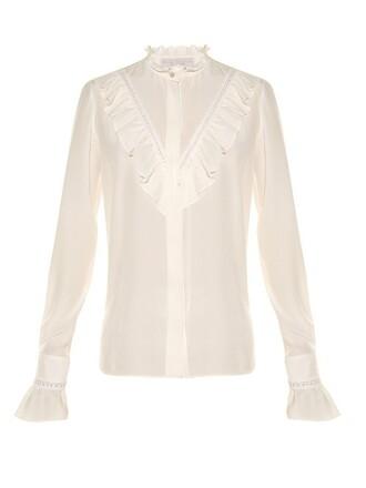 blouse high silk cream top