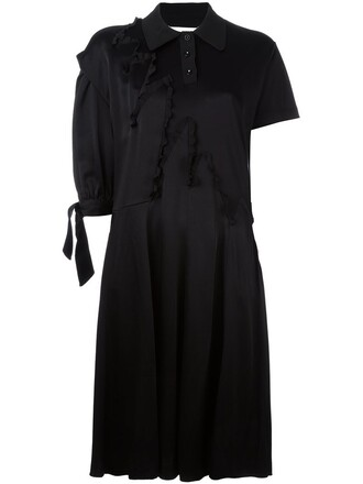 dress shirt dress women black wool