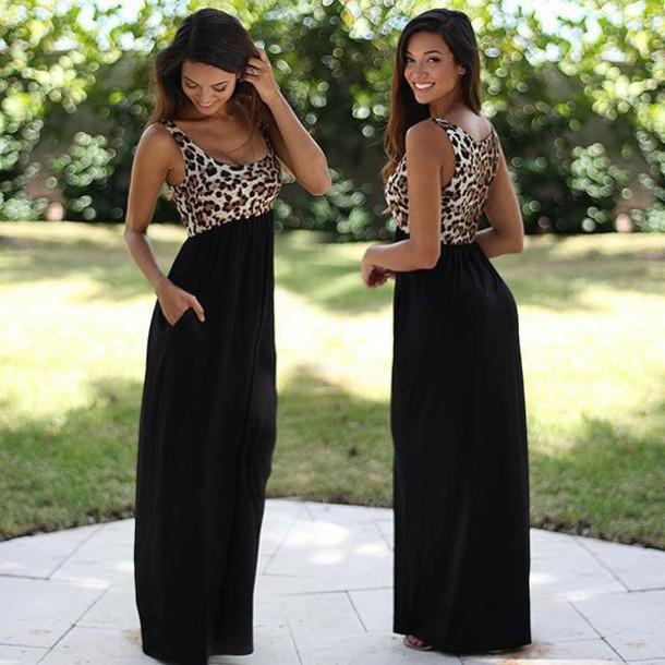 6624932b8e6d dress leopard print leopard print leopard print maxi dress long dress  leopard print maxi black long
