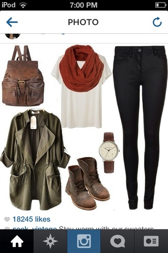 bag leather t-shirt jeans coat scarf shorts shoes hair accessory jewels jacket leather backpack army green jacket brown red white shut shirt pants leggings jeggings blouse army green fall outfits military style winter boots top leather boots khaki fashion fall style gloves tank top romper cardigan green lovely now green jacket juffjs skirt