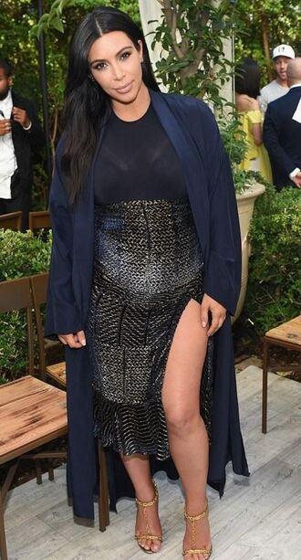 skirt top midi skirt slit skirt kim kardashian coat