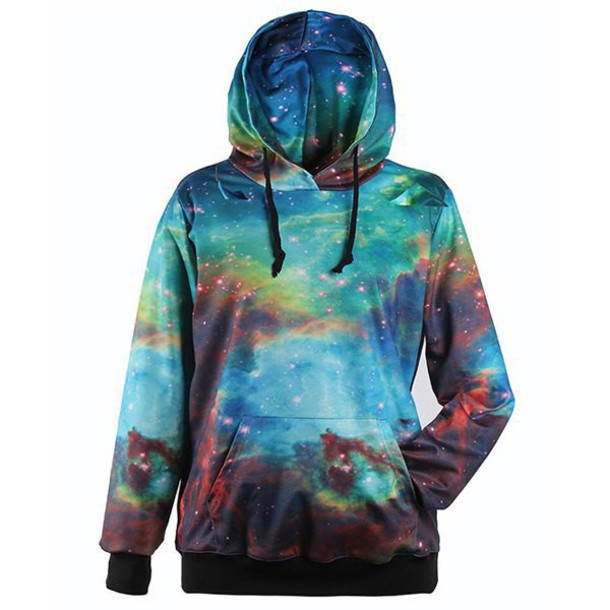 Sweater: galaxy print, hoodie, trendy drawstring hooded colorful ...
