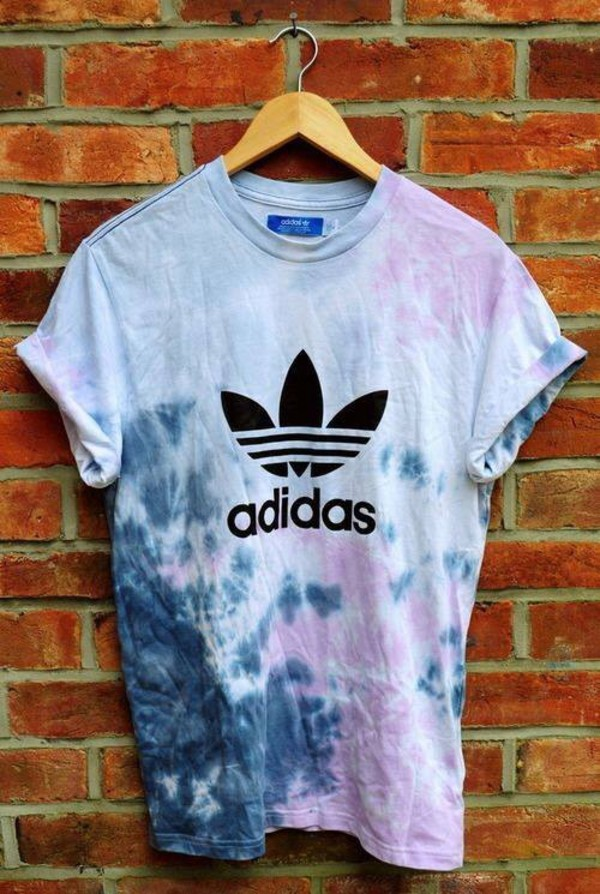 t-shirt adidas colorful vintage top shirt tie dye shirt tie dye pretty teenagers