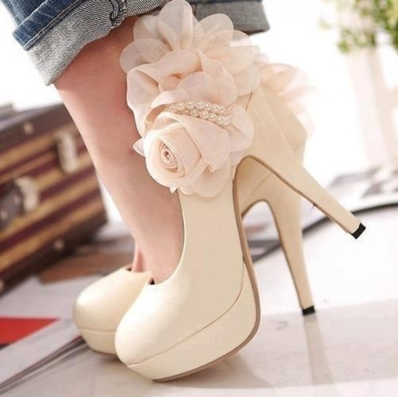 pearls shoes roses beige heels