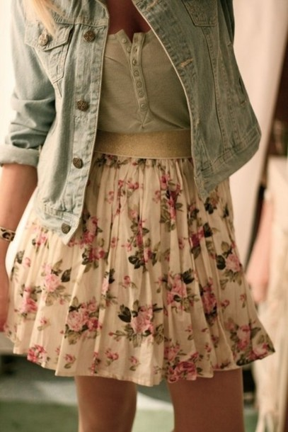 skirt denim floral jacket wheretoget