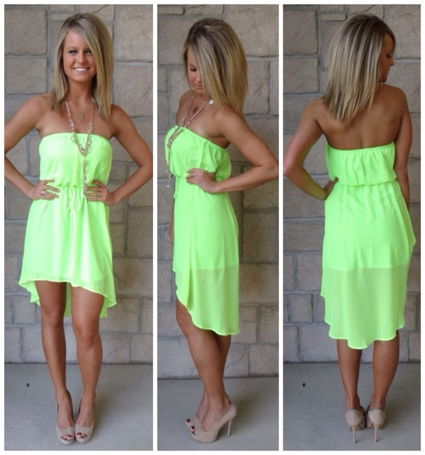 dress green lime spring florida neon lime green high low dress lime green dress