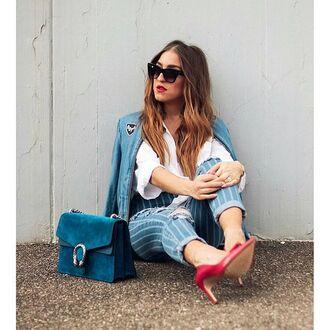 bag tumblr stripes striped jeans pumps blue bag velvet gucci gucci bag dionysus sunglasses cat eye shirt white shirt denim jacket blue jacket