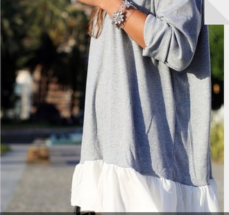 dress grey white kylie jenner ruffle grey cardigan sweater combine aborable sweater dress white flowy