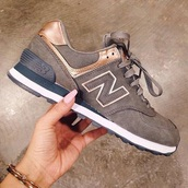 shoes,new balance,sneakers,grey,bronze,metallic shoes