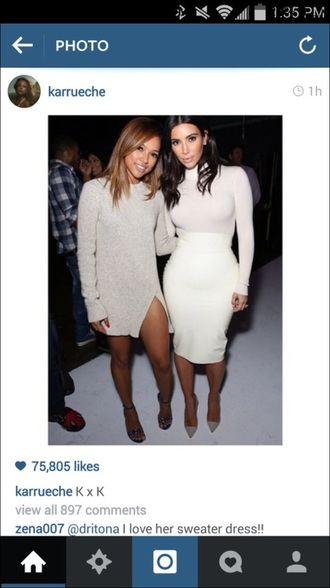 dress karrueche beige beige dress sweater dress winter dress long sleeve dress