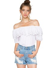 top,eyelet top,off the shoulder top,white top,affordable clothes,pixie market,pixie market girl
