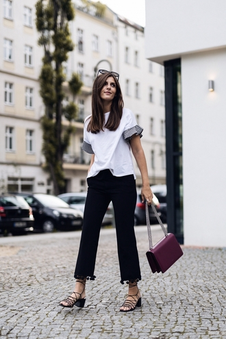 top pants tumblr white top black pants sandals mid heel sandals bag shoes