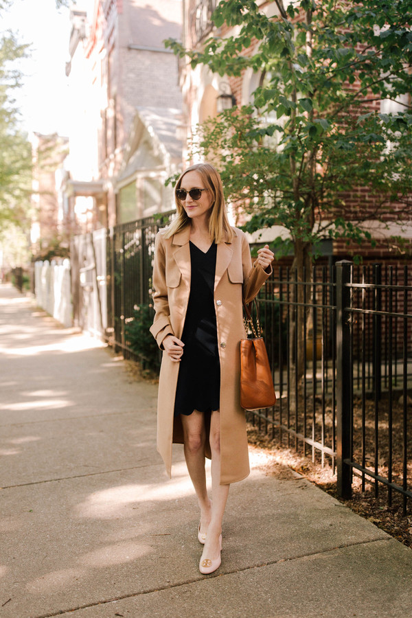 kelly in the city - a preppy chicago life style and fashion blog blogger shoes coat dress bag beige coat black dress fall outfits