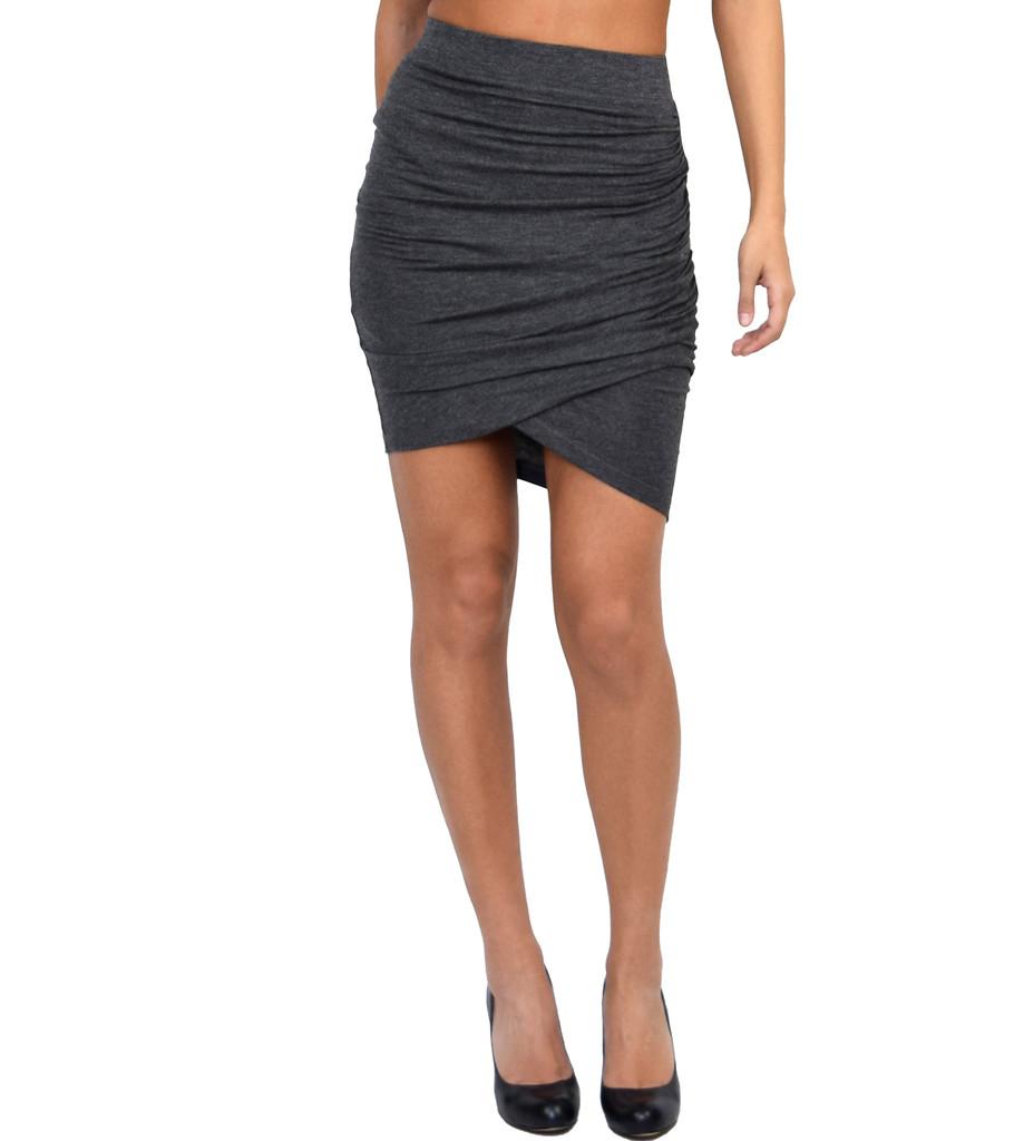 Grey Asymmetrical Skirt   Emprada