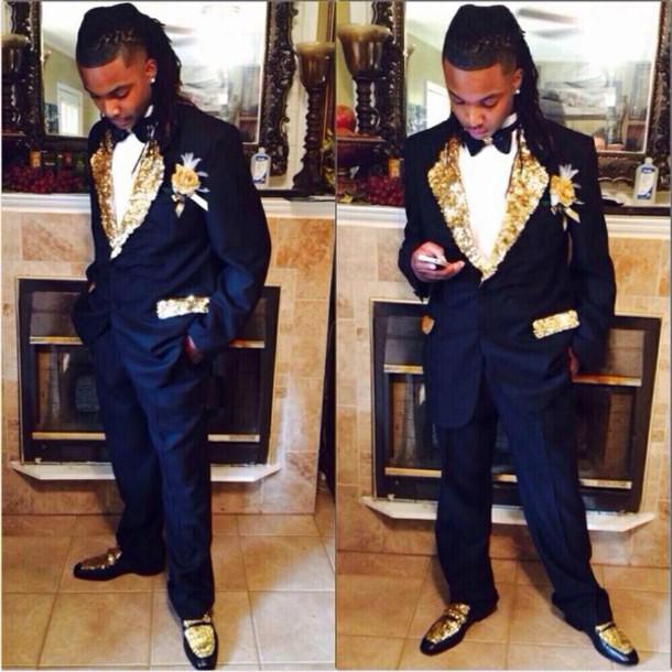 Jacket: prom, gold, navy, tuxedo - Wheretoget