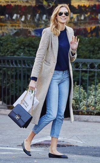 coat karlie kloss fall coat fall outfits flats ballet flats jeans denim