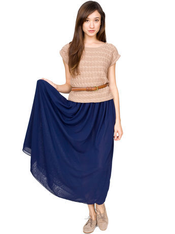 Layered full length skirt