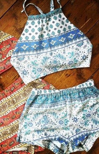jumpsuit two-piece top shorts summer blue zentangle pattern crop cotton