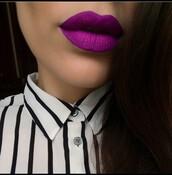 make-up,purple,lips,lipstick,sopretty,blouse