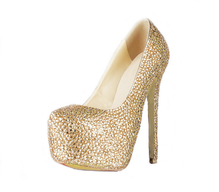 Gold Rhinestone Round Toe Slip on Platform Pumps