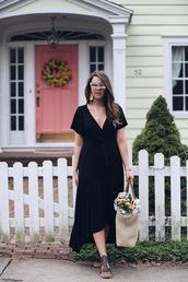 fashionably kay,blogger,dress,shoes,bag,sunglasses,midi dress,spring outfits,raffia bag,sandals,black midi dress