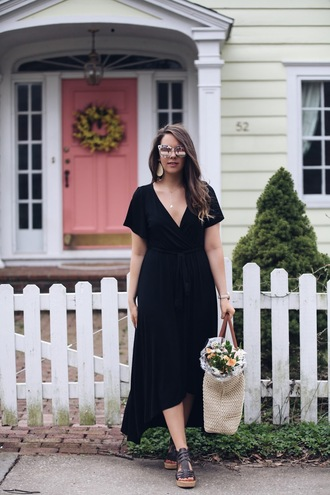 fashionably kay blogger dress shoes bag sunglasses midi dress spring outfits raffia bag sandals black midi dress