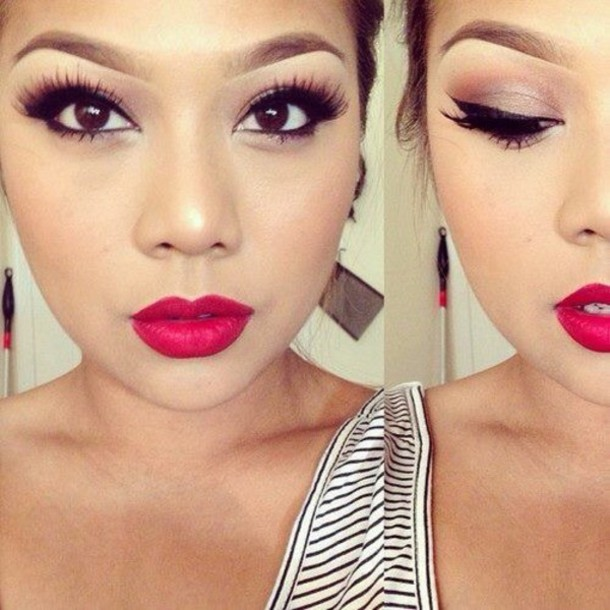 make-up brown dark brunette lips rd matte mascara lashes eyes eyelashes red lipstick