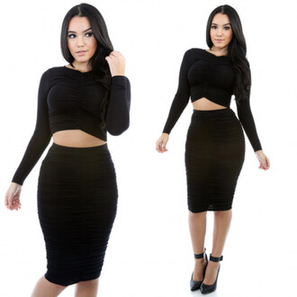 dress little black dress two-piece bodycon dress midi skirt two piece dress set