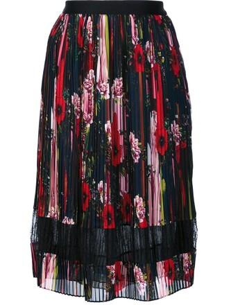 skirt pleated skirt pleated floral black