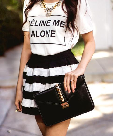 cute t-shirt skirt black and white white t-shirt dress punk streetstyle womens fashion bag celine me alone shirt blogger