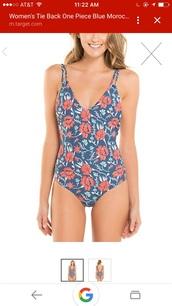 swimwear,one piece swimsuit,blue swimsuit strappy,floral swimwear