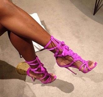 shoes heels sandals high heels pink purple shoes purple pink shoes lace up lace up sandals