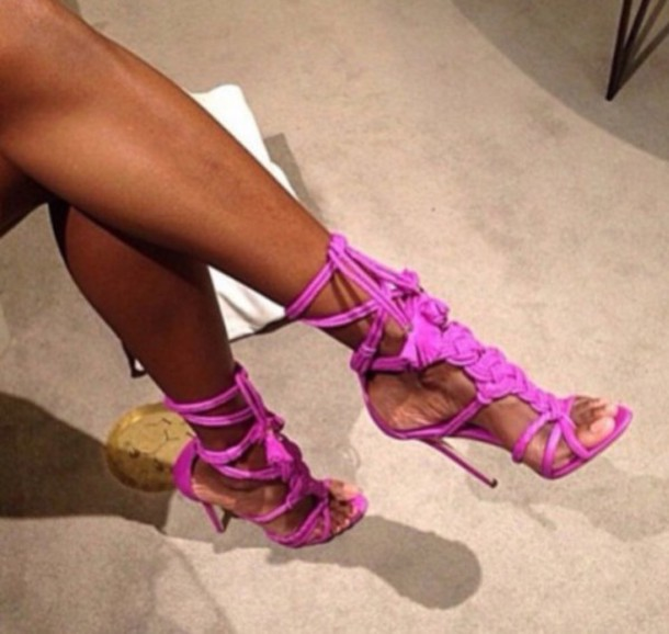Shoes: heels, sandals, high heels, pink, purple shoes, purple ...
