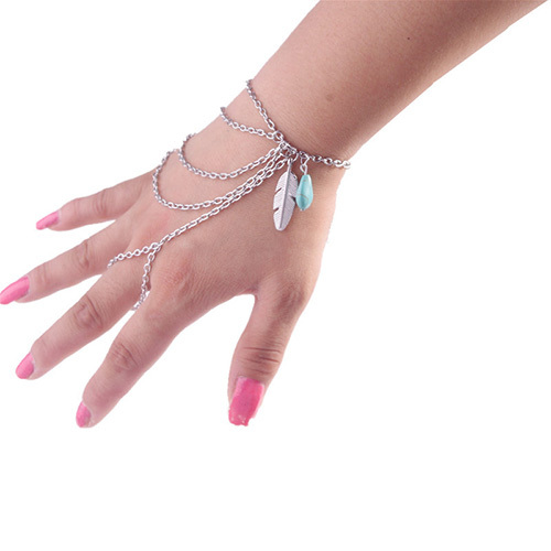 [grxjy5120150]Retro Maple Leaf Turquoise Pendant Multilayer Tassels Mitten Bracelet