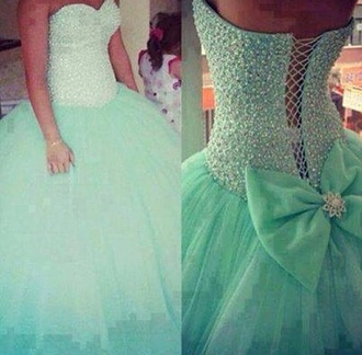 dress bow prom turquoise sparkles ball gown