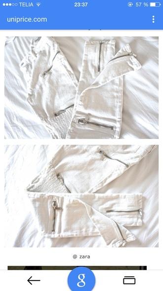 jeans white zip silver biker biker jeans