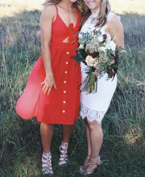 dress red dress spring summer cotton buttons