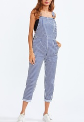 jumpsuit,girly,denim overalls,suspenders,blue,stripes
