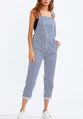 jumpsuit girly denim overalls suspenders blue stripes