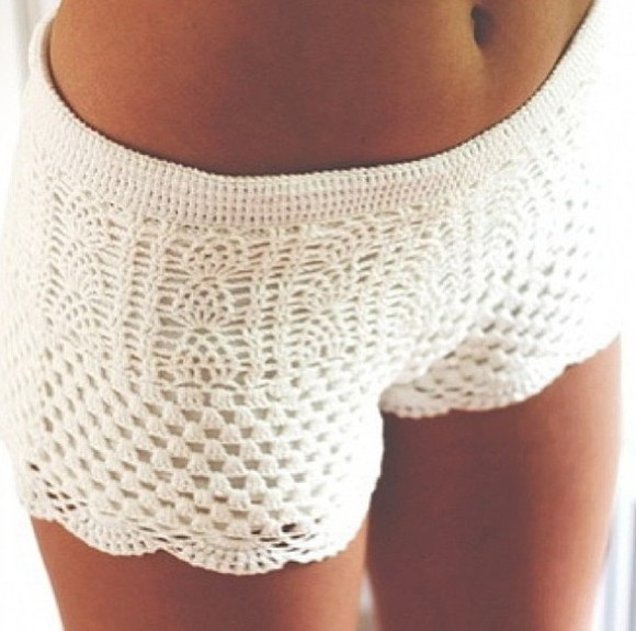 shorts crochet white crochet shorts pretty cute