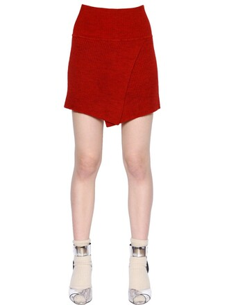 skirt knit wool red