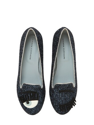 glitter loafers blue shoes