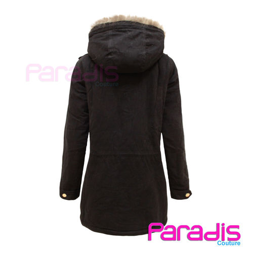 LADIES THICKEN WARM FAUX FUR OVERCOAT JACKET WOMENS HOODED PARKA COAT SIZE 8-16 | Amazing Shoes UK