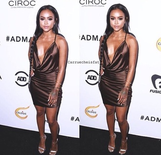 dress karrueche silk dress silk brown dress mini dress red carpet party dress sexy dress black girls killin it