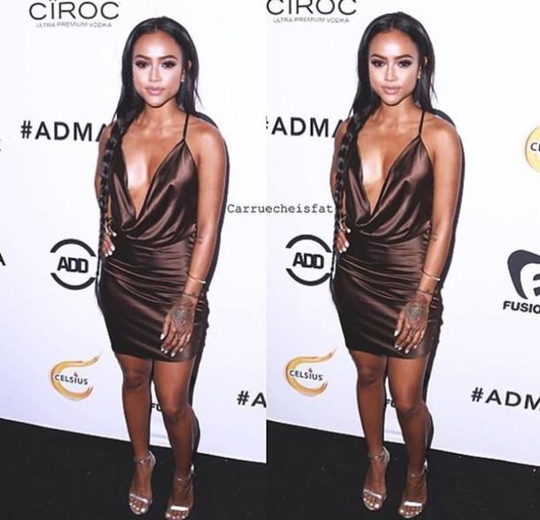 dress karrueche silk dress silk brown dress mini dress red carpet party dress sexy dress black girls killin it