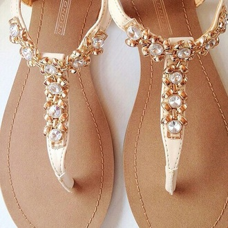 shoes sandals flat sandals gold