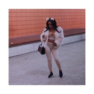 pants nude pants nude top sexy nude top nude black shoes jacket brown bag bag