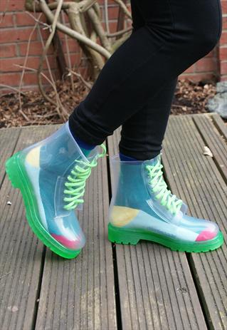 Clear Jelly Dr Marten DM Style Ankle See Through Boots  | jabberwocky | ASOS Marketplace