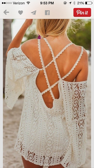 dress white lace open back summer spring beach lace dress summer dress beach dress